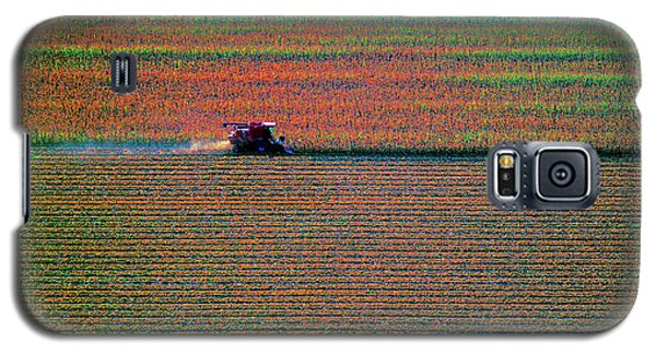 Red Combine Harvesting  Mchenry Aerial Galaxy S5 Case