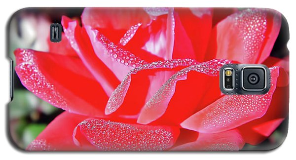 Red - Dew Covered  - Rose Galaxy S5 Case