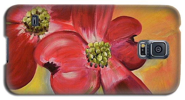 Red Dogwood - Canvas Wine Art Galaxy S5 Case by Jan Dappen
