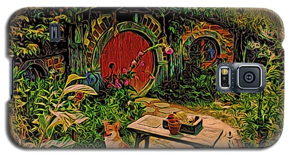 Galaxy S5 Case featuring the digital art Red Door Hobbit House With Corgi by Kathy Kelly