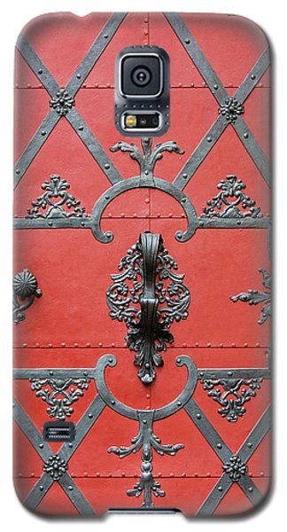Galaxy S5 Case featuring the photograph Red Door In Prague - Czech Republic by Melanie Alexandra Price