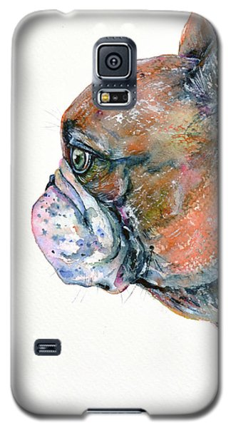 Galaxy S5 Case featuring the painting Red Fawn Frenchie by Zaira Dzhaubaeva