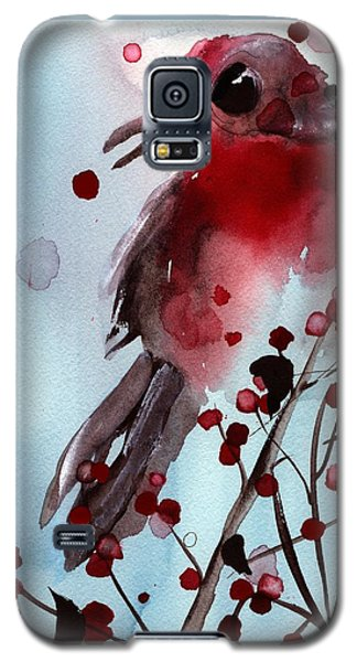 Red Finch In The Winterberry Galaxy S5 Case