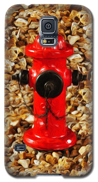 Galaxy S5 Case featuring the photograph Red Fire Hydrant by Andee Design