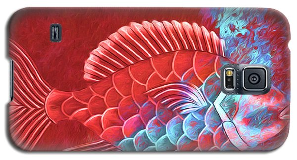 Galaxy S5 Case featuring the photograph Red Fish Into The Blue by Carol Leigh