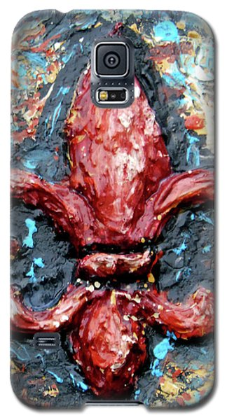 Galaxy S5 Case featuring the painting Red Fleur De Lis by Genevieve Esson