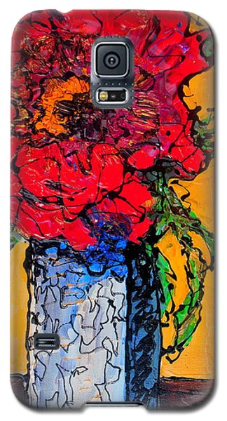 Red Flower Square Vase Galaxy S5 Case by Laura  Grisham