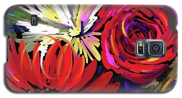 Galaxy S5 Case featuring the painting Red Flowers by DC Langer