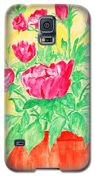 Red Flowers In A Brown Vase Galaxy S5 Case