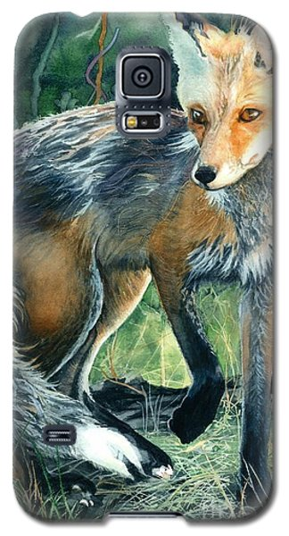 Galaxy S5 Case featuring the painting Red Fox- Caught In The Moment by Barbara Jewell