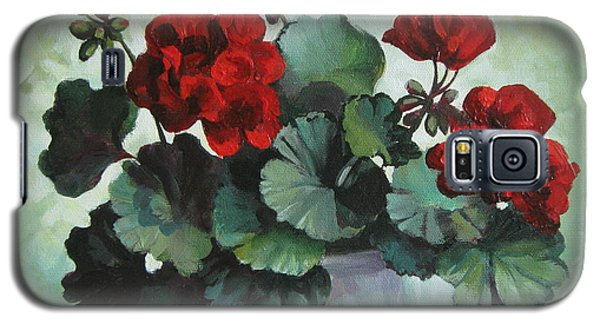 Galaxy S5 Case featuring the painting Red Geranium by Elena Oleniuc