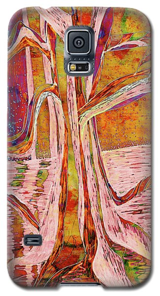 Red-gold Autumn Glow River Tree Galaxy S5 Case