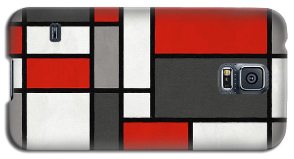 Galaxy S5 Case featuring the digital art Red Grey Black Mondrian Inspired by Michael Tompsett