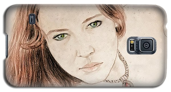 Galaxy S5 Case featuring the drawing Red Hair And Freckled Beauty by Jim Fitzpatrick