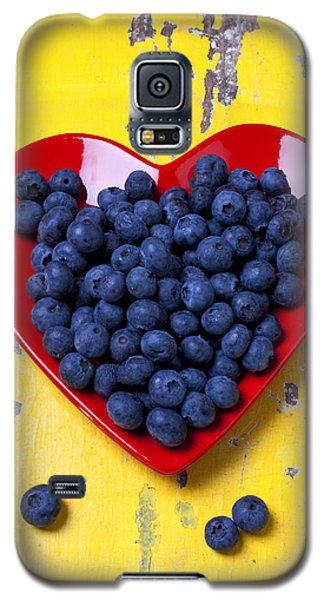 Red Heart Plate With Blueberries Galaxy S5 Case by Garry Gay