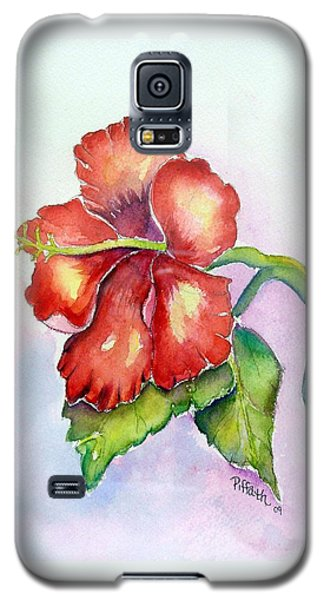 Galaxy S5 Case featuring the painting Red Hibiscus by Patricia Piffath