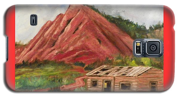 Galaxy S5 Case featuring the painting Red Hill And Cabin by Sherril Porter