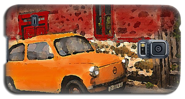 Red House With Orange Car Galaxy S5 Case