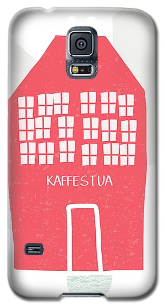 Galaxy S5 Case featuring the mixed media Red Kaffestua- Art By Linda Woods by Linda Woods
