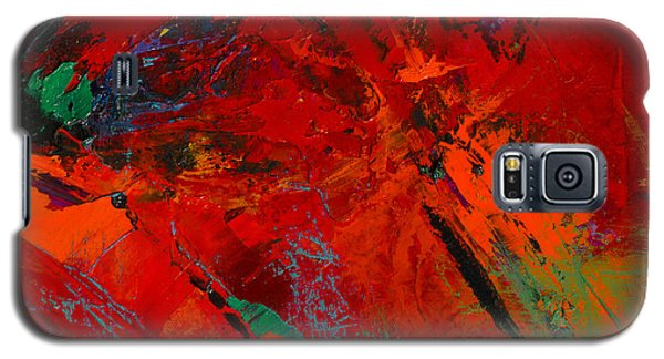Galaxy S5 Case featuring the painting Red Mood by Elise Palmigiani