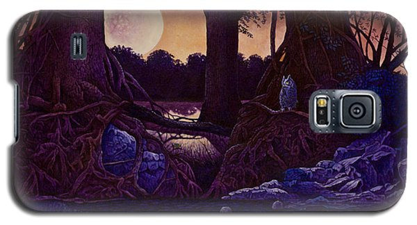 Galaxy S5 Case featuring the painting Red Moon by Michael Frank