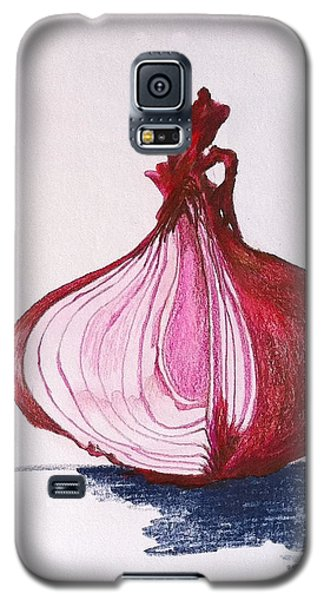 Galaxy S5 Case featuring the drawing Red Onion by Sheron Petrie