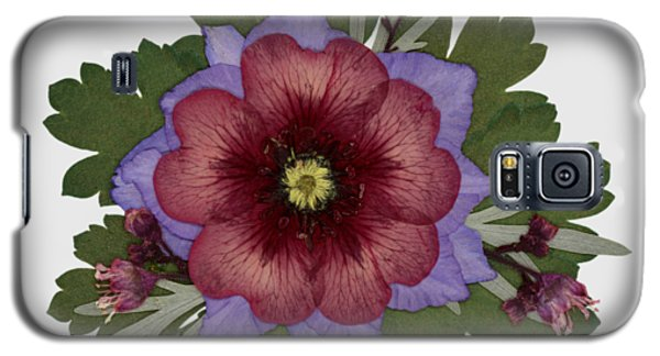 Red Open Faced Potentilla Pressed Flower Arrangement Galaxy S5 Case