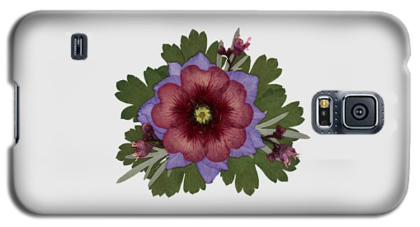 Red Open Faced Potentilla Pressed Flower Arrangement Galaxy S5 Case