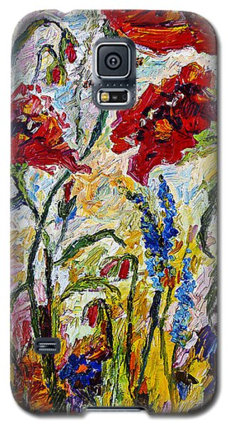 Galaxy S5 Case featuring the painting Red Poppies And Bees Provence by Ginette Callaway