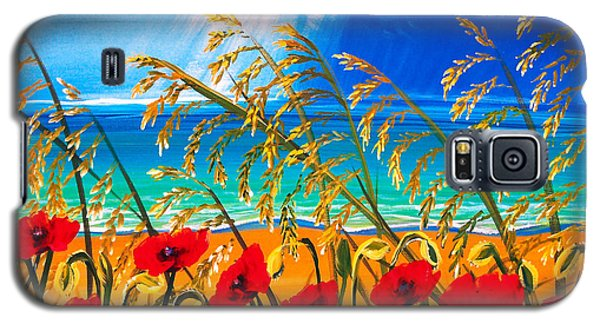 Galaxy S5 Case featuring the painting Red Poppies And Sea Oats By The Sea by Patricia L Davidson