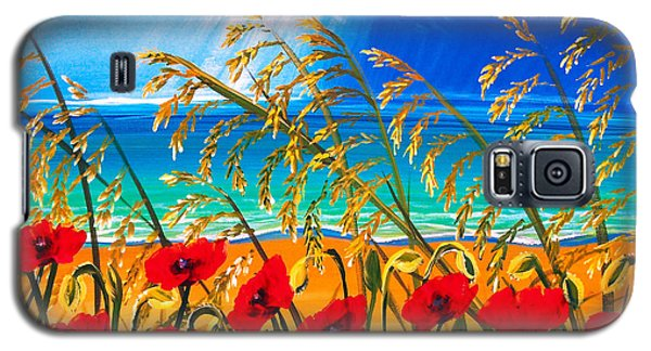 Red Poppies And Sea Oats By The Sea Galaxy S5 Case by Patricia L Davidson