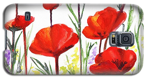 Galaxy S5 Case featuring the painting Red Poppies Art By Irina Sztukowski by Irina Sztukowski