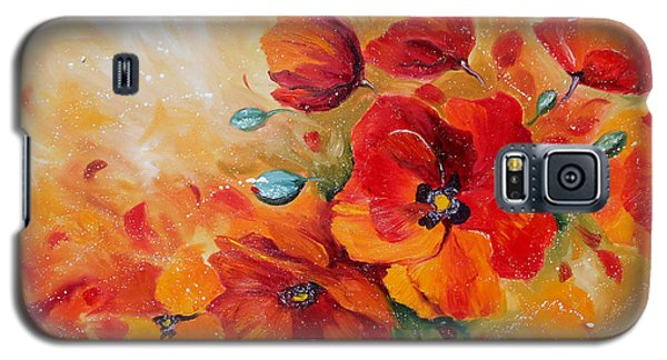 Red Poppies Impressionist Abstract Painting By Artist Ekaterina Chernova Galaxy S5 Case