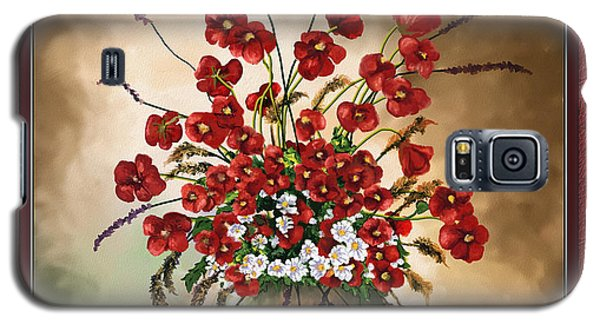 Galaxy S5 Case featuring the digital art Red Poppies by Susan Kinney