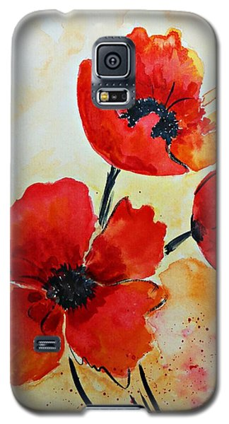 Red Poppies Watercolor Galaxy S5 Case