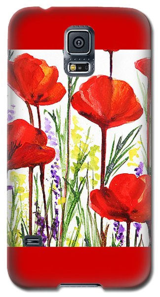 Galaxy S5 Case featuring the painting Red Poppies Watercolor By Irina Sztukowski by Irina Sztukowski