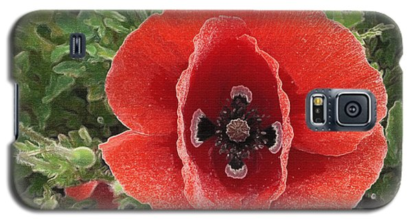 Galaxy S5 Case featuring the photograph Red Poppy Flower 2 by Jean Bernard Roussilhe