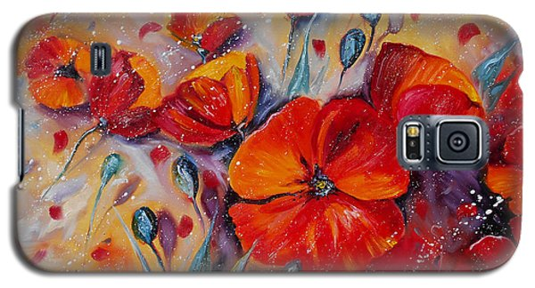 Red Poppy Meadows Galaxy S5 Case