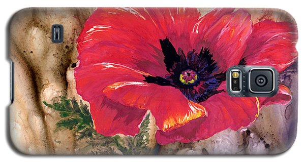 Galaxy S5 Case featuring the painting Red Poppy by Sherry Shipley