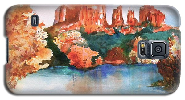 Galaxy S5 Case featuring the painting Red Rock Crossing by Sharon Mick