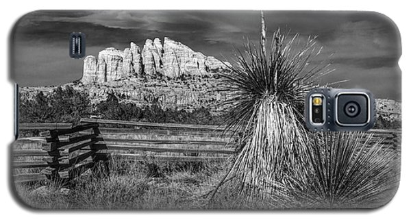 Galaxy S5 Case featuring the photograph Red Rock Formation In Sedona Arizona In Black And White by Randall Nyhof