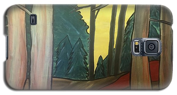 Galaxy S5 Case featuring the painting Red Rock In Woods by Paula Brown