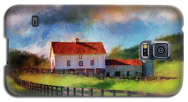 Galaxy S5 Case featuring the digital art Red Roof Barn by Lois Bryan