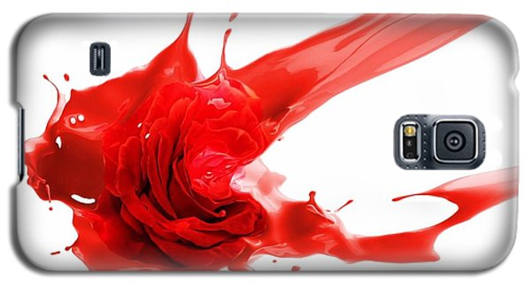 Galaxy S5 Case featuring the mixed media Red Rose by Gabriella Weninger - David