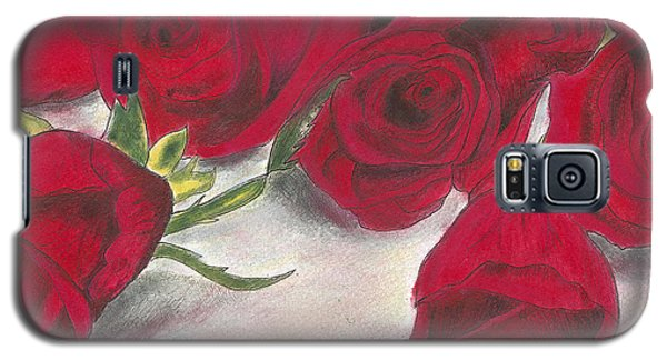 Galaxy S5 Case featuring the drawing Red Rose Redux by Arlene Crafton