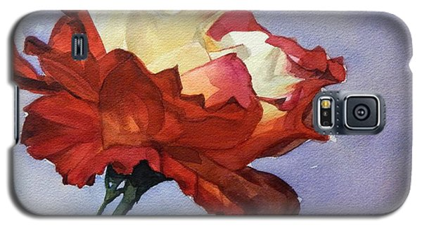 Watercolor Of A Red And White Rose On Blue Field Galaxy S5 Case