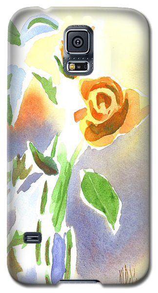 Galaxy S5 Case featuring the painting Red Roses With Holly In A Vase by Kip DeVore