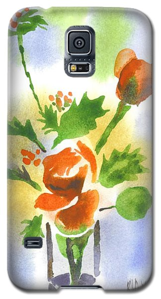 Galaxy S5 Case featuring the painting Red Roses With Holly by Kip DeVore