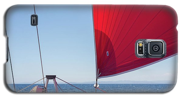 Galaxy S5 Case featuring the photograph Red Sail On A Catamaran by Clare Bambers