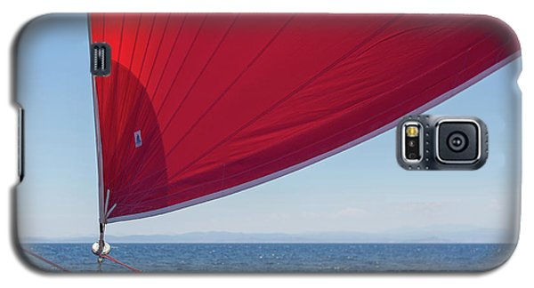 Galaxy S5 Case featuring the photograph Red Sail On A Catamaran 2 by Clare Bambers